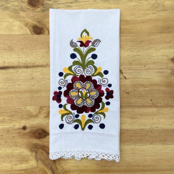 Toalla Towel Bordada Zuleta Flores Flowers Galeria Ecuador